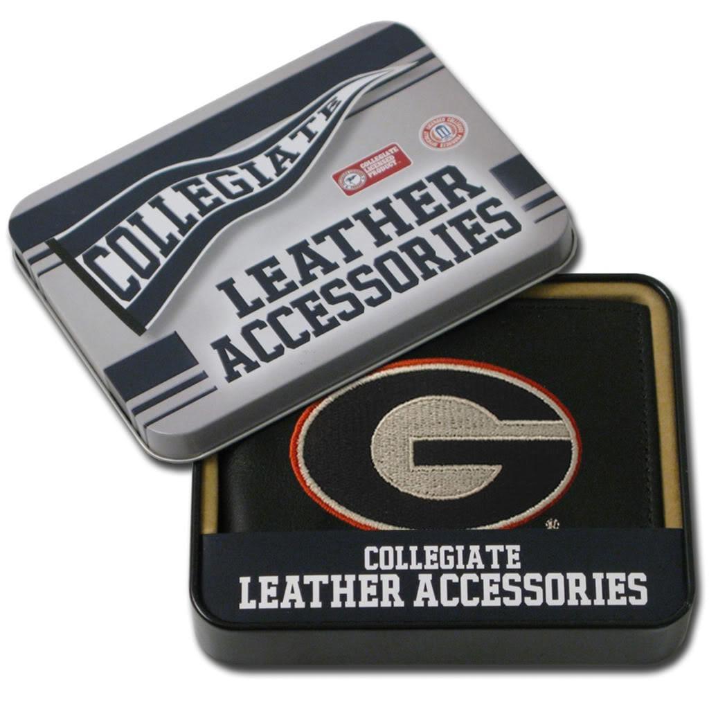 Georgia Bulldogs Men's Black Leather Bi-fold Wallet