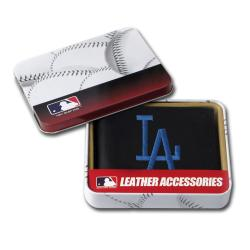 Los Angeles Dodgers Men's Black Leather Bi-fold Wallet - Thumbnail 1