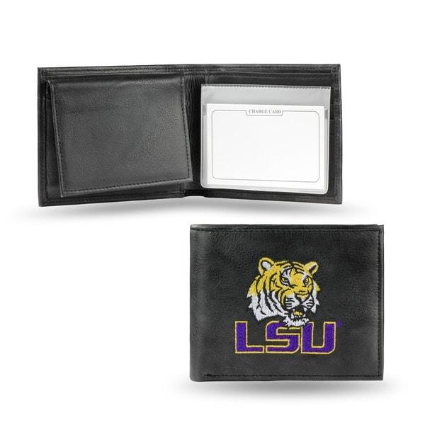 LSU Tigers Men's Black Leather Bi-fold Wallet