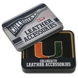 Miami Hurricanes Men's Black Leather Bi-fold Wallet