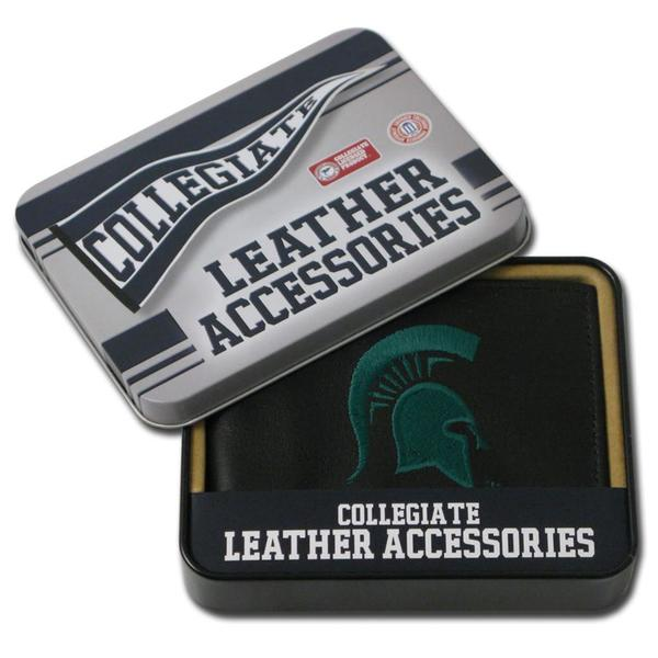 Michigan State Spartans Men's Black Leather Bi-fold Wallet