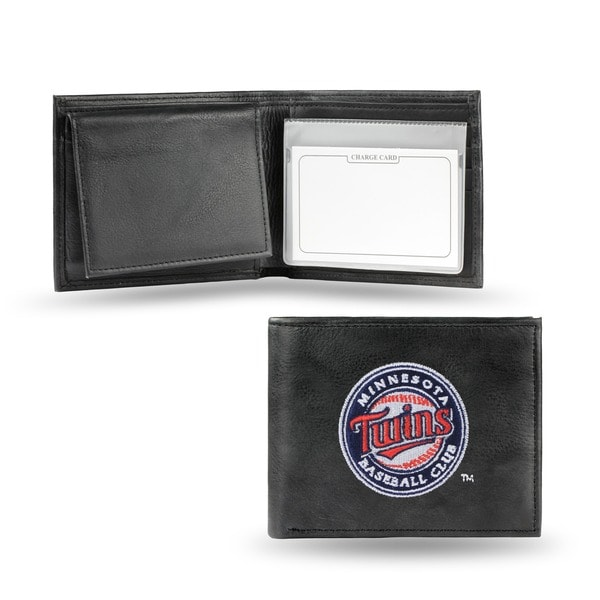 Minnesota Twins Men's Black Leather Bi-fold Wallet