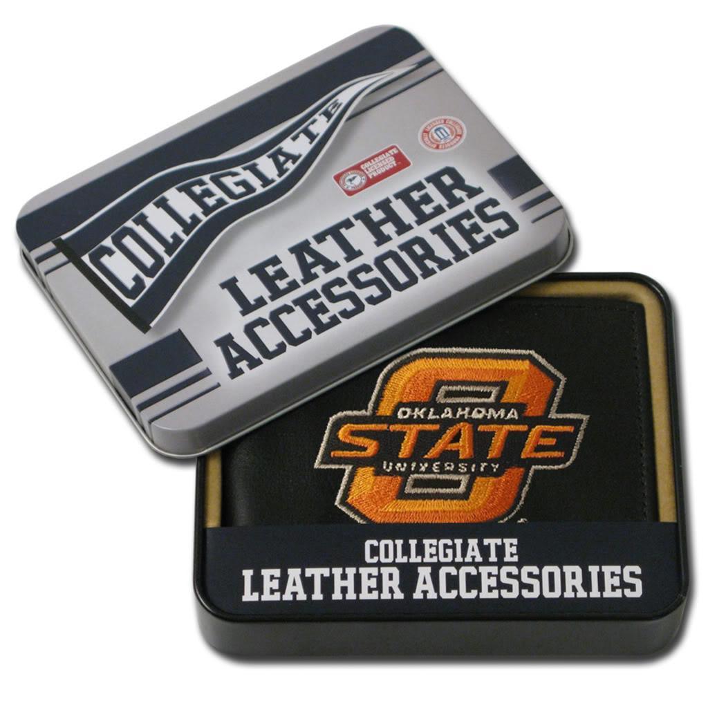 Oklahoma State Cowboys Men's Black Leather Bi-fold Wallet