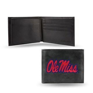 Ole Miss Runnin Rebels Men's Black Leather Bi-fold Wallet