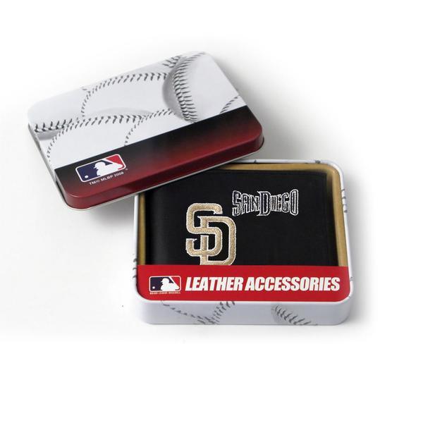 San Diego Padres Men's Black Leather Bi-fold Wallet