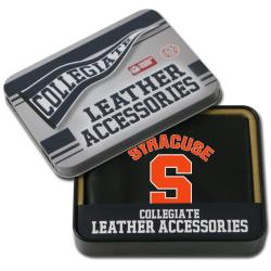 Syracuse Orangemen Men's Black Leather Bi-fold Wallet - Thumbnail 1