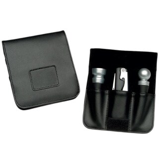 Royce Leather Wine Accessory Valet - Black