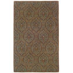 Hand-tufted Green Geometric Wool Rug (5' x 8')