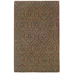 Hand-tufted Green Geometric Wool Rug (8' x 10') - 8' x 10' - Thumbnail 0