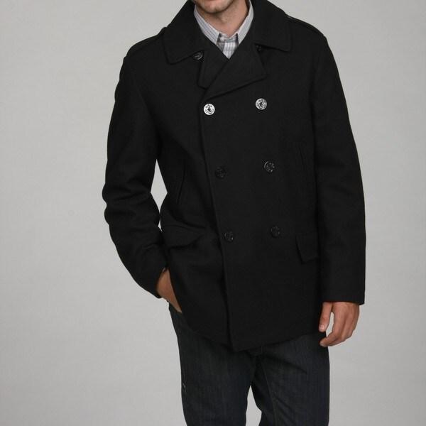 Nautica Men's Black Wool Blend Peacoat