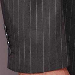 Men's Grey Striped 2-button Suit - Thumbnail 1