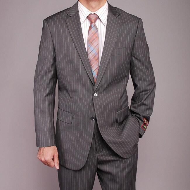 Men's Grey Striped 2-button Suit