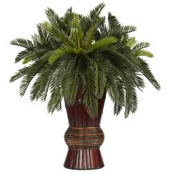 Silk 29-inch Potted Cycas Plant