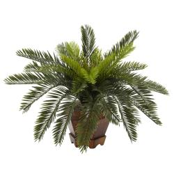 Silk 15-inch Potted Cycas Plant - Thumbnail 1