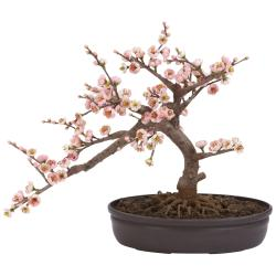 Silk 15-inch Potted Cherry Blossom Bonsai Plant - Thumbnail 2