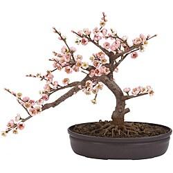 Silk 15-inch Potted Cherry Blossom Bonsai Plant