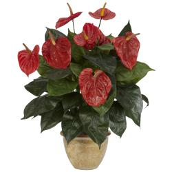 Anthurium with Ceramic Vase Silk Plant - Thumbnail 1