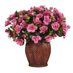 Silk Azalea Plant with Vase - Thumbnail 2