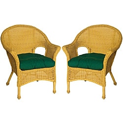 hela all weather outdoor hunter green wicker chair cushions set of 2