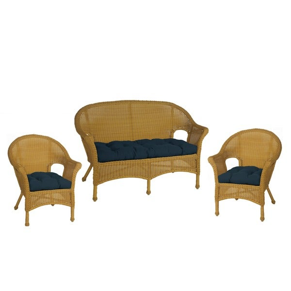Royal Navy Blue Wicker Chair And Love Seat Cushions Set