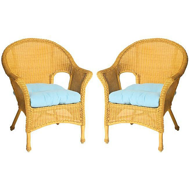 Baja All-weather Outdoor Sky Blue Wicker Chair Cushions (Set of 2) - Thumbnail 0