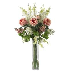 Silk 38-inch Rose/ Delphinium/ Lilac Flower Arrangement - Thumbnail 1