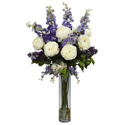 Silk 38-inch Rose/ Delphinium/ Lilac Flower Arrangement - Thumbnail 2