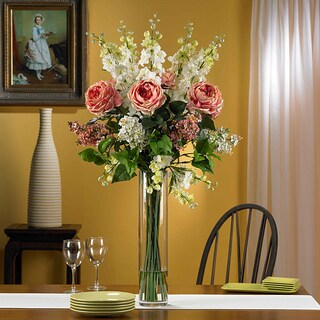 Silk 38-inch Rose/ Delphinium/ Lilac Flower Arrangement