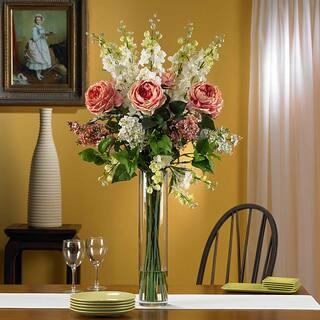 Buy purple artificial plants online at overstock our best silk 38 inch rose delphinium lilac flower arrangement mightylinksfo