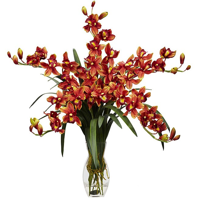 Silk 31-inch Cymbidium Orchid Flower Arrangement