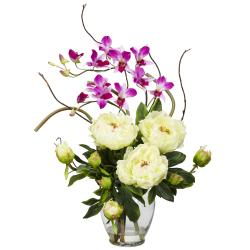 Silk 21.5-inch Peony/ Orchid Flower Arrangement - Thumbnail 2