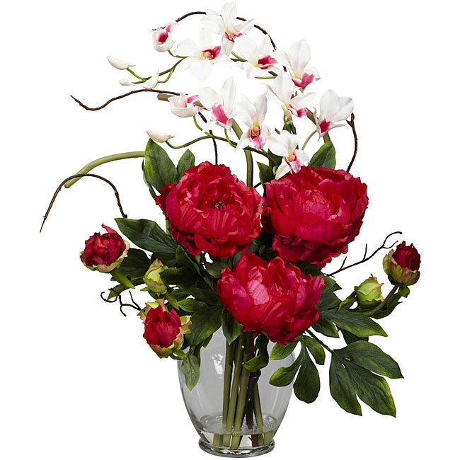 Silk 21.5-inch Peony/ Orchid Flower Arrangement - Thumbnail 0