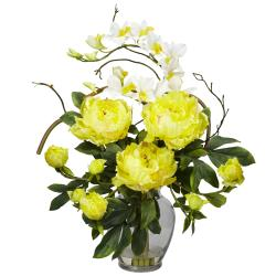 Silk 21.5-inch Peony/ Orchid Flower Arrangement (Option: Yellow)