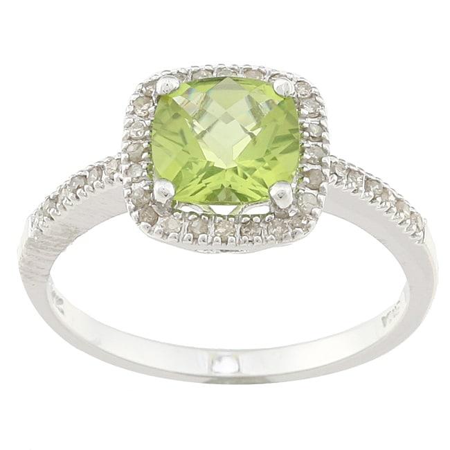 Sofia 14k White Gold Peridot and 1/5ct TDW Diamond Ring (J-K, I2)