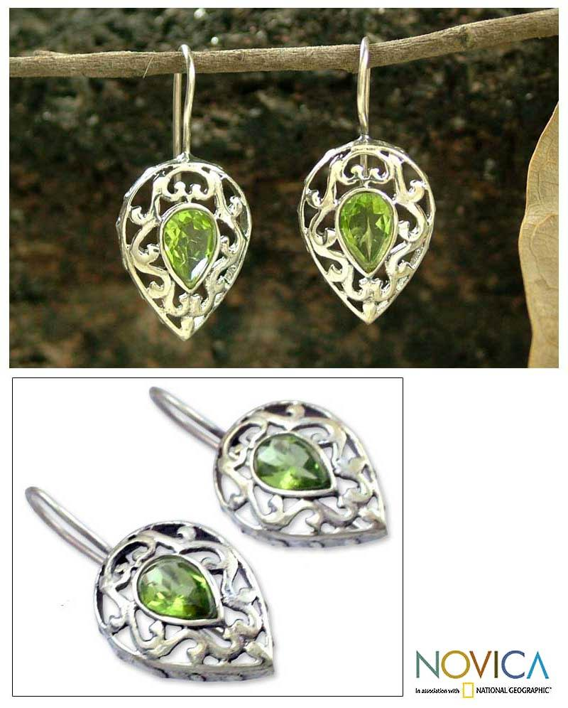 Handmade Sterling Silver 'Lime Lace' Peridot Dangle Earrings (India)