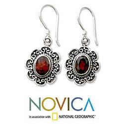Handmade Sterling Silver 'Bright Blossom' Garnet Floral Earrings (Indonesia) - Thumbnail 1