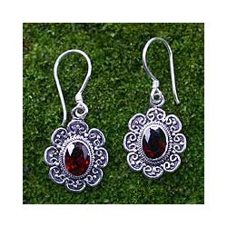 Handmade Sterling Silver 'Bright Blossom' Garnet Floral Earrings (Indonesia)