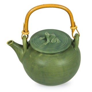 Handmade Ceramic 'Frog Song' Teapot (Indonesia)