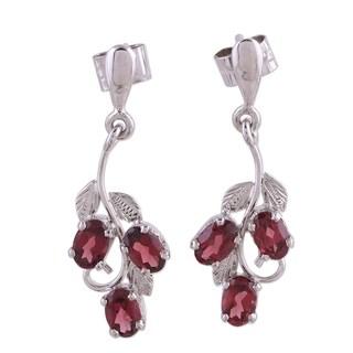 Handmade Sterling Silver 'Deep Red Wine' Garnet Earrings (India)
