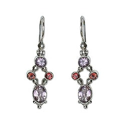 Handmade Sterling Silver 'Crystal Melody' Amethyst Earrings (Indonesia)