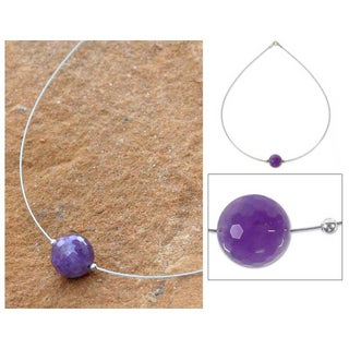 Stainless Steel 'Rotations' Amethyst Necklace (Thailand)