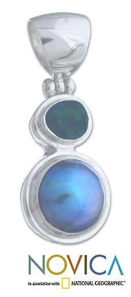 Sterling Silver 'Eclipse of Blue' Pearl Pendant (14 mm) (Indonesia)
