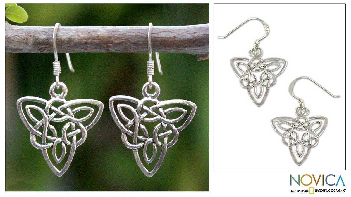 Handmade Sterling Silver 'Star Legends' Dangle Earrings (Thailand)