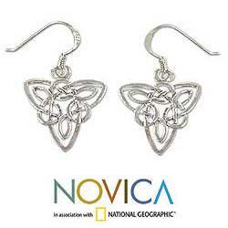 Handmade Sterling Silver 'Star Legends' Dangle Earrings (Thailand) - Thumbnail 1