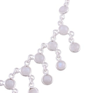 Handmade Sterling Silver 'Radiance' Moonstone Waterfall Necklace (India)