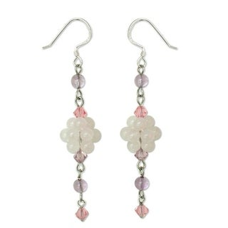 Handmade Stainless Steel 'Enchanted' Rose Quartz Amethyst Earrings (Thailand)