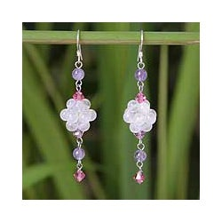 Stainless Steel 'Enchanted' Rose Quartz Amethyst Earrings (Thailand)