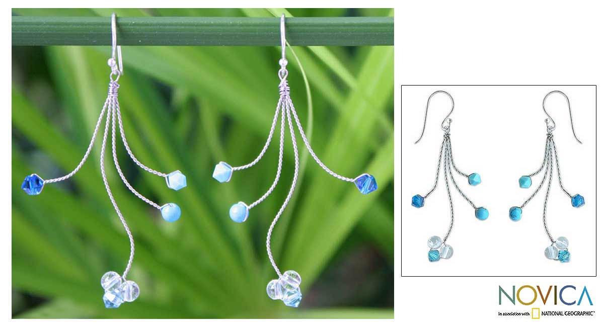 Stainless Steel 'Springtime' Blue Topaz Dangle Earrings (Thailand)