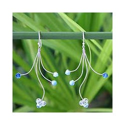 Stainless Steel 'Springtime' Blue Topaz Dangle Earrings (Thailand)