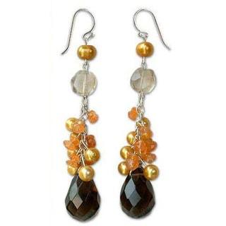 Handmade Sterling Silver 'Honeydrops' Pearl Quartz Earrings (8 mm) (Thailand)